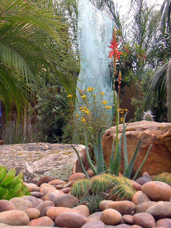 Steve's drought-tolerant, San Diego-esque landscape design surrounds a  custom glass sculpture in Del Mar, CA. - San Diego, CA Landscape Designers, Architects, Contractors